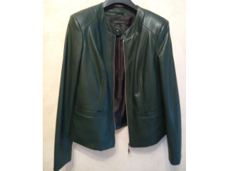 Куртка темно-зеленая, 48 р., эко-кожа