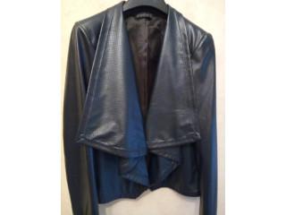 Женская куртка (кардиган) без застежки, 48 р, цвет синий, эко-кожа